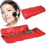 Tuzi Qiuge Wdw Profesional 24pcs Cepillo del Maquillaje de Belleza Kit de cosméticos + PU Estuche de Cuero (Rojo)