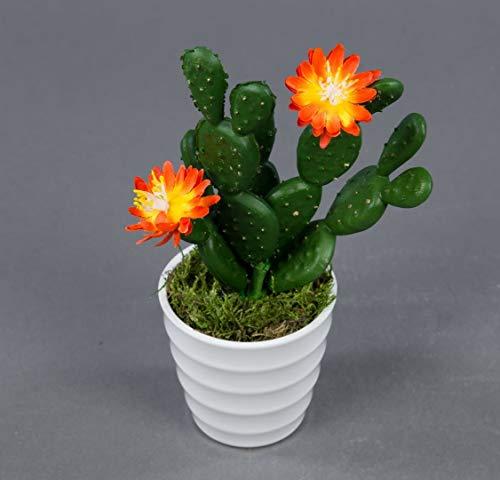 Seidenblumen Roß Ohrenkaktus mit 2 Blüten orange im weißen Dekotopf JA Kakteen Kunstpflanzen künstlicher Kaktus