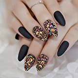 CoolNail 3D Press On Nails Rose Black Bling Gems Matte Stiletto Fake False Nails Almond Frosted Oval Short Pointed Full Cover Faux Ongles