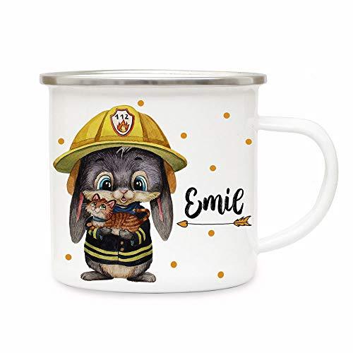 ilka parey wandtattoo-welt Emaillebecher Becher Tasse Camping Feuerwehr Hase mit Kätzchen & Wunschname Name Kaffeetasse Geschenk eb556