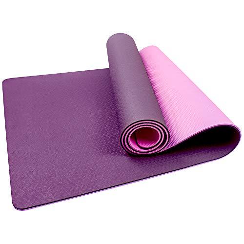 StillCool Esterilla Yoga TPE, Colchoneta de Yoga Antideslizante con Correa de Hombro Elástica para Gimnasia Pilates Gimnasia en Fitness Casa y Al Aire Libre, 183 x 61 x 0,6 cm - Rosa