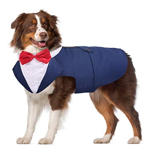PUMYPOREITY Dog Hochzeit Anzug, Smoking-Kostüme, Formelle Party-Outfits, Hund Kleidung, hundefliege Hochzeit für kleine Mittelgroße Hunde Gold Hund, Bulldogge, Labrador, Samojeden, Pitbull(Blau, XXL)