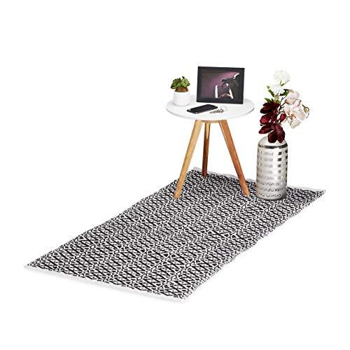 Relaxdays Teppich Läufer, handgefertigt, Baumwolle, Flurteppich Rautenmuster, rutschfest, 70 x 140 cm, schwarz-weiß