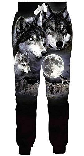AEOPES Men/Women 3D Joggers Pants Funny Graphic Sweatpants Unisex Casual Mens Sweatpants Sport Track Sweatpants Baggy Wolf and Moon M