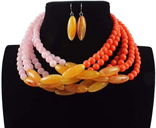 Jewelry Set Women's Jewelry Resin Stone Beaded Statement Necklace And Earring Set For Women 2 Colors Bridal Jewelry Set,Yellow