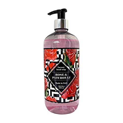HOPIFICIO – Luxury Liquid Hand Soap: Hypoallergenic, Sulfate-free, Regenerating, Moisturizing & Gently Cleansing Liquid Soap, 16.9 Fl Oz (Rose & Patchouli)