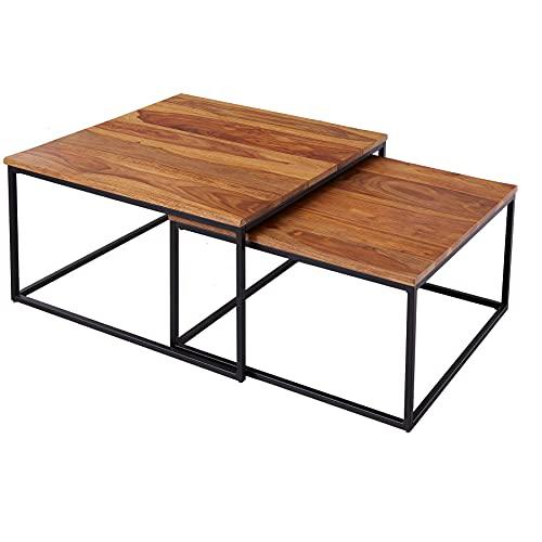 riess-ambiente.de Design Couchtisch 2er Set Elements 75cm Sheesham Stone Finish Wohnzimmertisch Tisch Sofatisch
