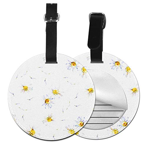 Luggage Tags Daisy Camomile Flower Petals Suitcase Luggage Tags Business Card Holder Travel Id Bag Tag