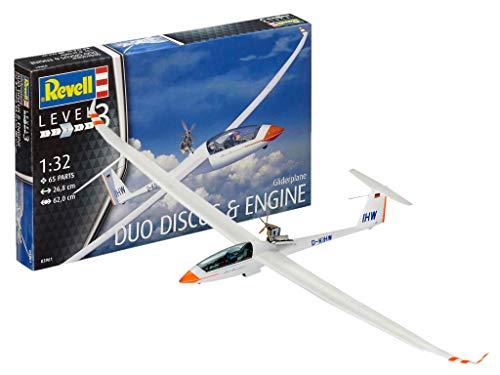 Revell 03961 10 Modellbausatz Gliderplane Duo Discus & Engine im Maßstab 1:32, Level 3