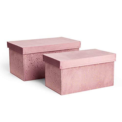 Beautify 2er-Set Druckfolie Konfetti-Boxen - 2er-Set Aufbewahrungsboxen aus Rosa Samt für Schlafzimmer oder Ankleidezimmer - 2er-Set Konfetti-Boxen für die Organisation von Ankleidezimmern