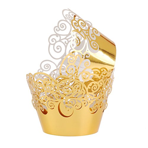 Aiyaya Filigree Artistic Muffin Case Cupcake Paper Cup Liner Little Vine Lace Laser Cupcake Wrappers for Wedding Party Birthday Decoration (Mirror Gold)