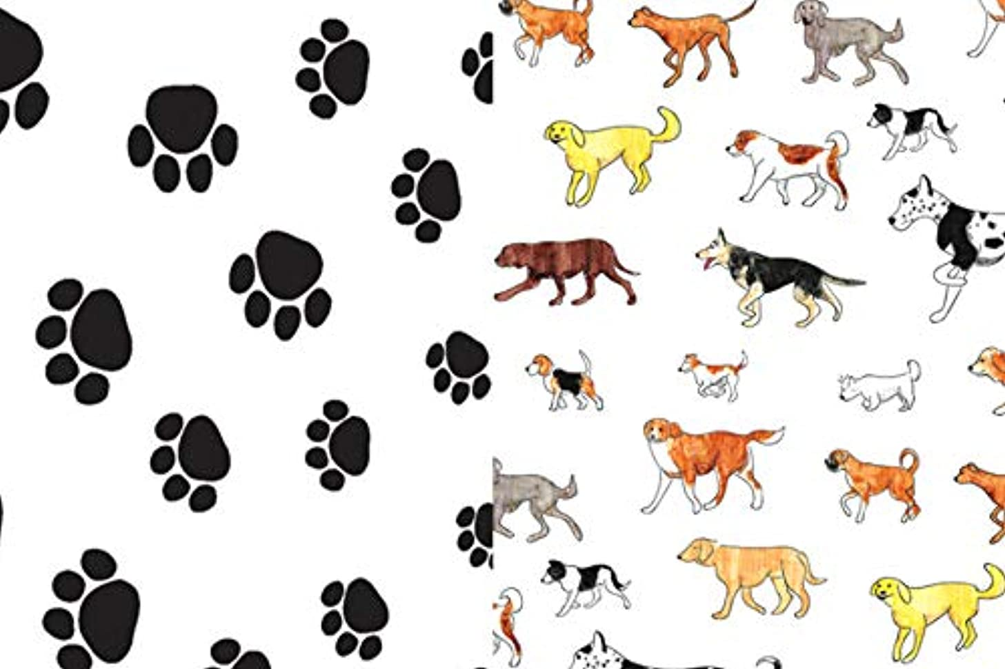 Dogs and Paw Prints Gift Wrap Tissue Paper for All Occasions. 24-Pack Includes 12 Sheets of Each Pattern. Large 20 x 30 Squares, Black, White, Multi