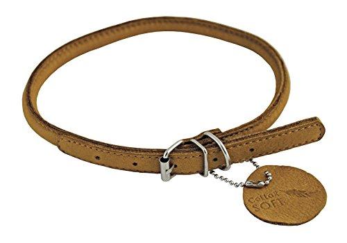 CHAPUIS SELERIE Soft Collar Ajustable Redondo de Cuero para Perro Marrón Diámetro 13 mm Longitud 45-53 cm Talla L