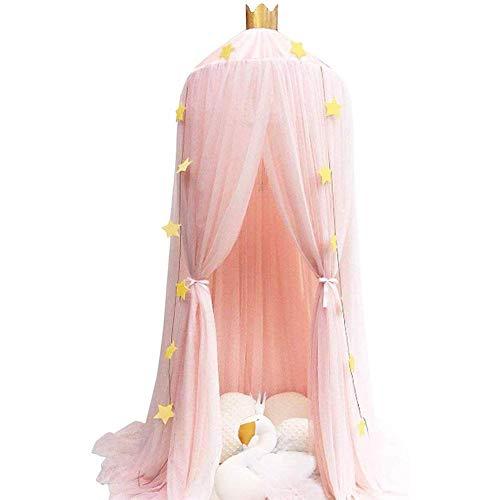 Namgiy Baby Baldachin Betthimmel, Prinzessin Moskitonetz mit 4m Goldene Papierstern Dekoration für Kinderzimmer Spielzelte Rosa Höhe: 240cm (Rosa)
