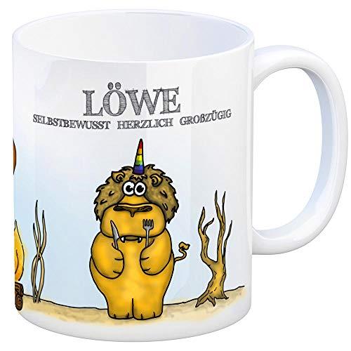 Honeycorns Kaffeebecher mit Sternzeichen Löwe Motiv Tasse Kaffeetasse Becher mug Teetasse Büro Einhorngeschenk lustig witzig Einhorntasse Astrologie Tierkreiszeichen Sternbilder Geburtstag Geburt