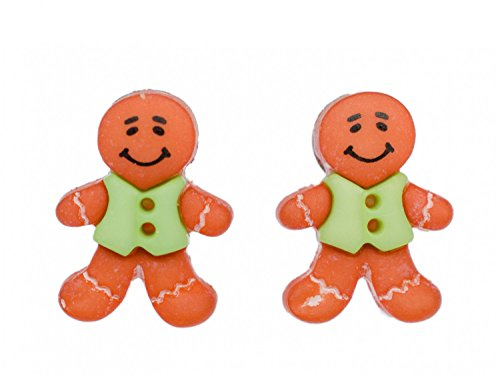 Miniblings Lebkuchenmann Ohrstecker Stecker Jacke Weihnachten Lebkuchen X-mas - Handmade Modeschmuck I Ohrringe Stecker Ohrschmuck