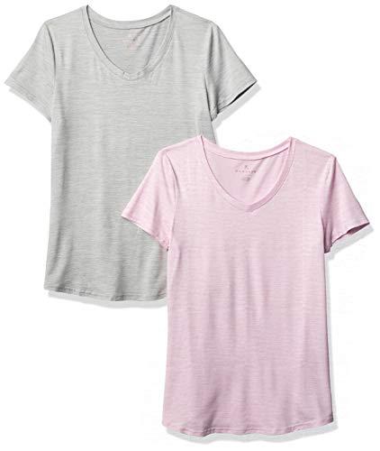 Danskin Women's 2 Pack Essential V Neck T-Shirt, Grey Space Dye/Lavender Frost Space Dye, Medium