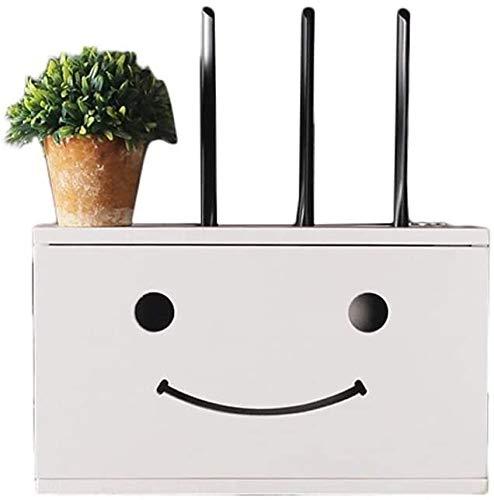 LUYIYI Madera Maciza Router inalámbrico Estante montado en la Pared Smiley Cubierta Decorativa de Creative Box Vivir trastero Pared TV Blanco