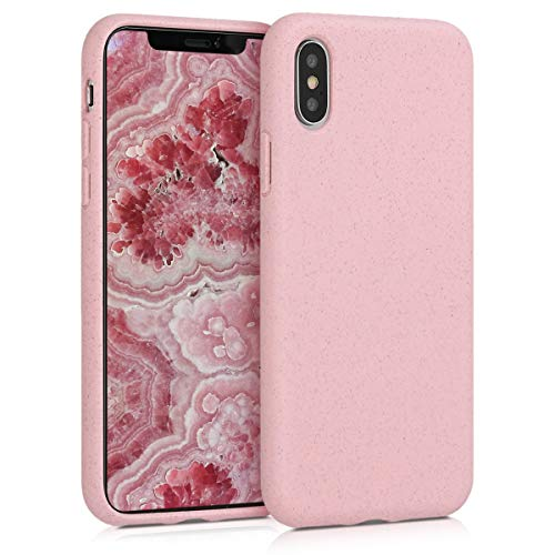 kalibri Cover Compatibile con Apple iPhone X - Custodia in Silicone e Paglia - Backcover Matt Anti-Impronte - Rosa Antico