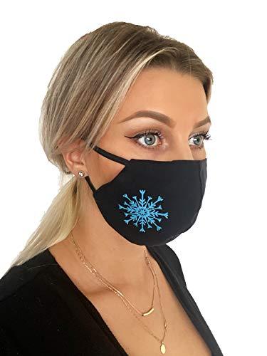Pet-Jos Stoffmaske Mundschutz Gesichtsmaske Schneeflocke blaue Schneeflocke Mundschutz Maske waschbar wiederverwendbar Mehrwegmaske Schutzmaske 3 Lagen aus Baumwolle elastische Ohrschlaufen Unisex
