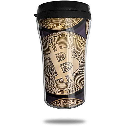 Bitcoin gouden munten bekleed reizen koffie mok gedrukt draagbare vacuüm kop, geïsoleerde thee kopje waterfles Tumblers voor het drinken