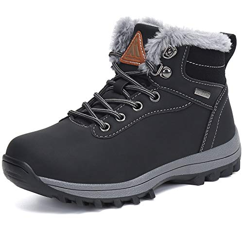 Mishansha Boy's Girl's Winter Snow Boots Waterproof Kids Hiking Boots Cold Weather Outdoor Fur Lined Warm Walking Boot Shoes Black 12 Little Kid