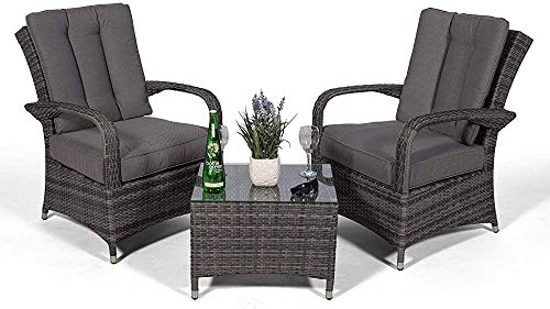 Armchair Garden Terrace Greenhouse Greenhouse Ultra-Stylish Casual Rattan Furniture Set of Two armchairs and a Small Glass Table Cushions dust Cover,Grey
