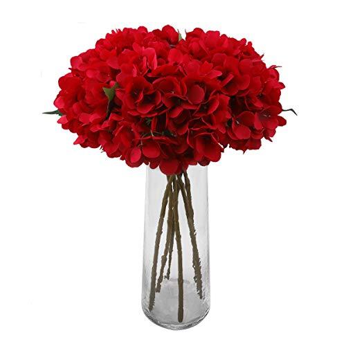 Decpro 6 Piezas de hortensias Artificiales, 6,6'' de Flores de Seda de hortensias de un Solo Tallo para Ramos de Novia, decoración de Fiesta de Hotel de Oficina en casa, centros de Mesa(Rojo)