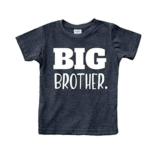 Big Brother Shirt for Toddler Promoted to Best Big Brother Announcement Baby Boys (Charcoal Black, 6 Years)