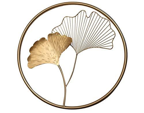 khevga Wandbild 3D Gold Wanddeko mit Blattmotiv 43 cm rund