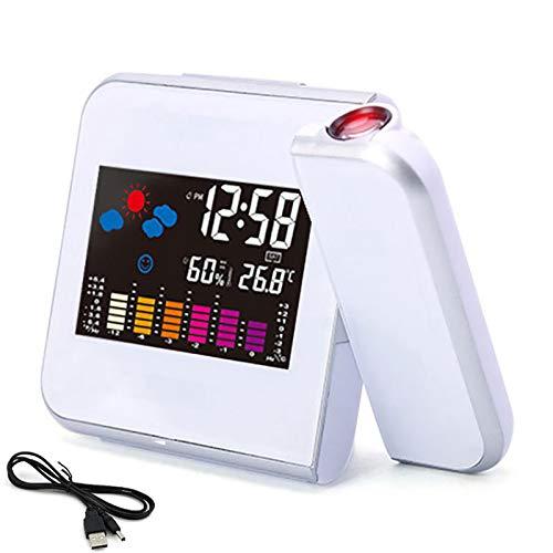 RONSHIN Projectie LED Digitale Klok met Weerstation Temperatuur Hygrometer Alarm Klok Kalender Datum Elektronische Accessoires, as shown, Kleur: wit