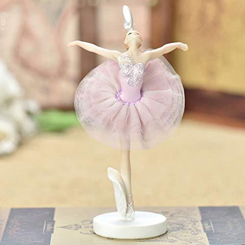 Sungmor 23CM Milieuvriendelijk hars ballet meisje beeldje met roze kostuum - Collectible Artwork dansen Ballerina standbeeld voor meisjes kamer verjaardagscadeau - Creative Desktop Display Home Decor