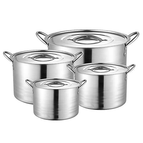ROYWY Juegos de sartenes,juego de ollas de acero inoxidable,olla de sopa alta, juego de 4 piezas,con tapa de acero inoxidable, mango resistente,adecuado para cocina de inducción de gas Olla de