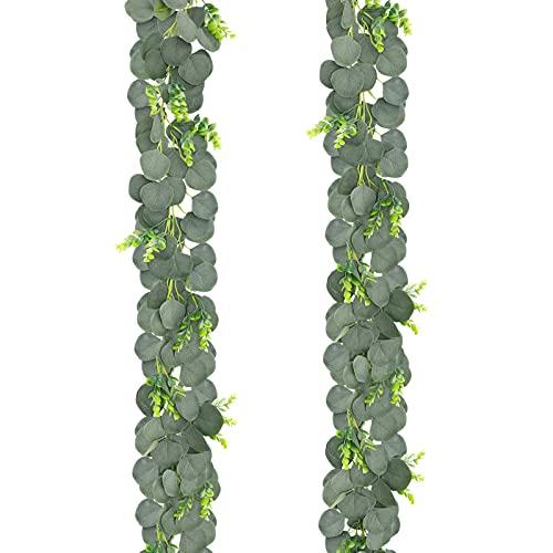 2 Pack Artificial Eucalyptus Guirnalda con Hojas de Caja de boj, 65 pies Vidas Verdes Falsas Faux Colgando Eucalyptus Guirnalda para Mantle Deacute; Cor, Boda Desacute; Cor BJY969
