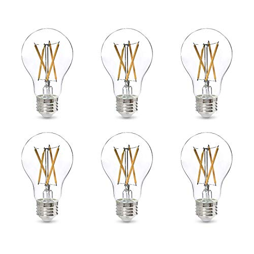 Amazon Basics 60W Equivalent, Clear, Soft White, Dimmable, CEC Compliant, A19 LED Light Bulb | 6-Pack
