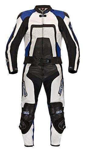 XLS Lederkombi Zweiteiler Blue Carbon schwarz weiss blau Motorradkombi zweiteilig