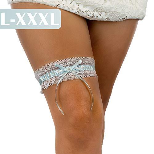 JK Trade BrautStyle® L-XXXL Premium Braut Strumpfband in Blau für Hochzeit, Band verziert mit Spitze, Schleife und einem edlen Herz aus filigranen Strass-Steinen, 100% Handgefertigt (Weiß - Blau)