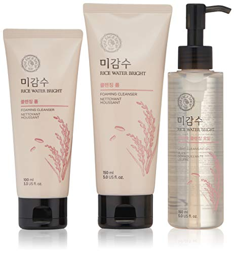 THE FACE SHOP Rice Water Bright Set  Cleanser 150Ml  Light Cleansing Oil 150Ml  Foam 100Ml 20 g