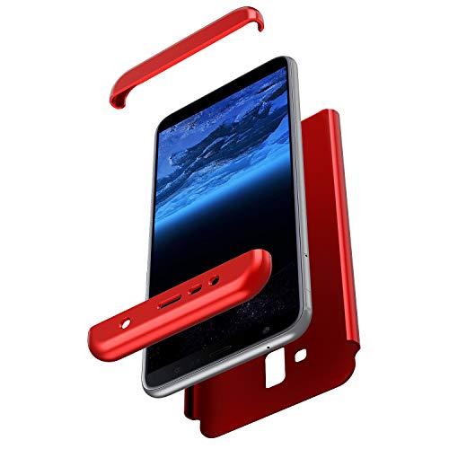 Herbests Kompatibel mit Samsung Galaxy J6 Plus 2018 Hülle 360° Rundumschutz Handyhülle Schutzhülle Komplettschutz Tasche Full Cover Front Back Double Beidseitiger Cover PC Hartschale,Rot