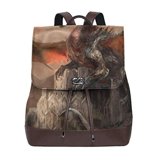 Zaino scuola,Cool Dragon On Castle Womens Leather Backpack Vintage Laptop Backpack Travel Daypack College School Bookbag For Women Girls & Students