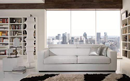 Sofá moderno de 3 plazas de piel sintética blanca con asientos deslizantes y elevador de cabezas.