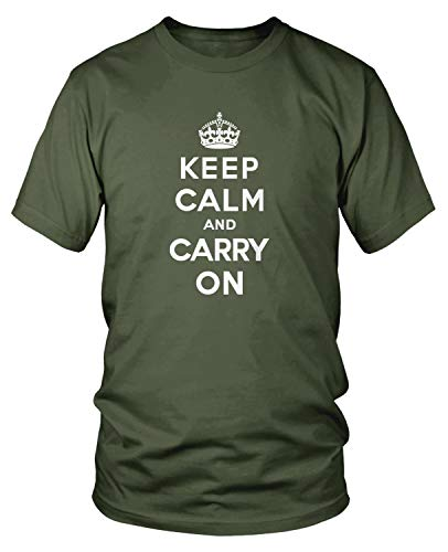 Amdesco Men's Keep Calm and Carry On T-Shirt, Moss Green Large