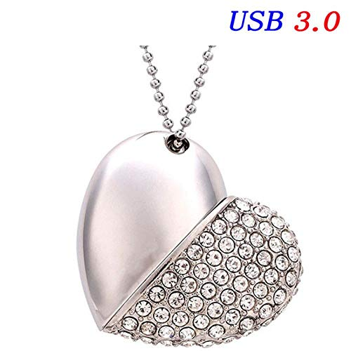 USB Memory Stick, USB 3.0 Crystal Diamond Love Heart USB Flash Drive Memory Stick Hearts met ketting hanger 32 GB, zilver.