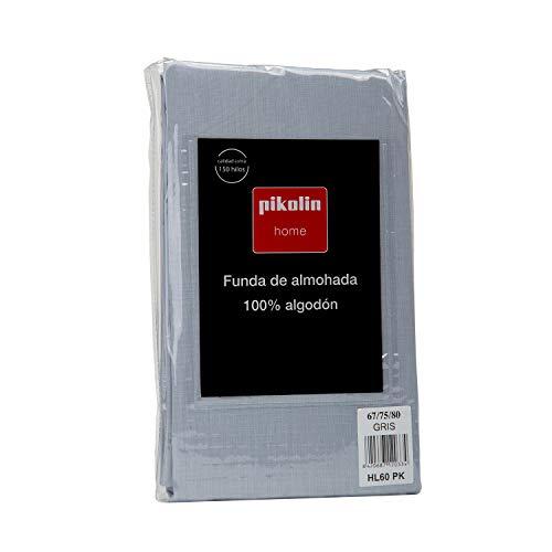 Pikolin Home - Funda de almohada 100% algodón, transpirable y de 150 hilos calidad extra en color gris azulado pastel