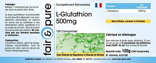 L-Glutathion 500mg - reduziert - hochdosiert - vegan - ohne Magnesiumstearat - 120 L-Glutathion-Tabletten