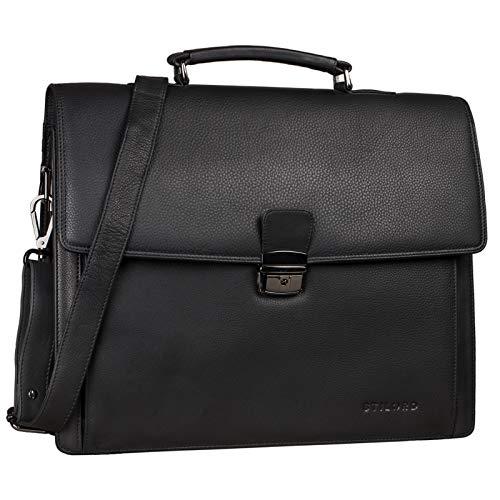 STILORD 'Noel' Aktentasche Leder Herren Vintage Schwarz Groß Klassische Arbeitstasche Bürotasche Umhängetasche Dokumententasche mit Laptopfach 13,3 Zoll und Trolleyschlaufe