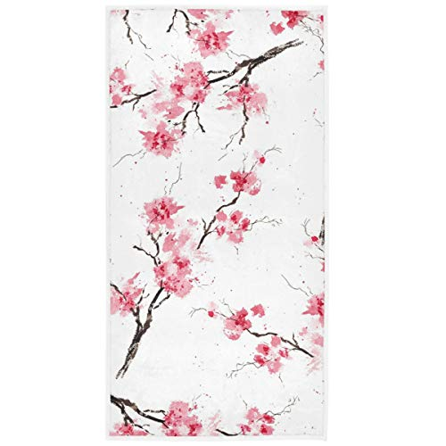 Pfrewn Cherry Blossoms Flowes Hand Towels 16x30 in Watercolor Pink Floral Sakura Branch Bathroom Towel Soft Absorbent Small Bath Towel Kitchen Dish Guest Towel Home Bathroom Decorations