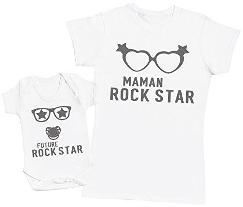 Future Rock Star garçon - Ensemble Mère Bébé Cadeau - Femme T Shirt & bébé Bodys - Blanc - XL & Naissance