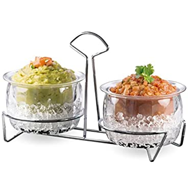 Chips and Dips Condiments Server Cups Chilled On Ice Dispenser, Organizer Condiment Caddy Holder Set with Stainless Steel Rack, 2 Bowl Sections Holds Chip and Dip Fruit & Salad & Dessert Centerpiece.
