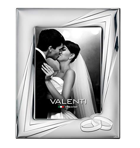 Valenti&Co – Marco de fotos de plata 13 x 18 cm. Ideal como regalo para boda o para la madre y el padre.